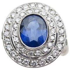Art Deco 2.36 Carat Natural Blue Sapphire Double Diamond Platinum Halo Ring