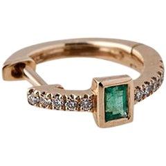 14 Karat Gold Diamond and Emerald Baguette Mini Hoops