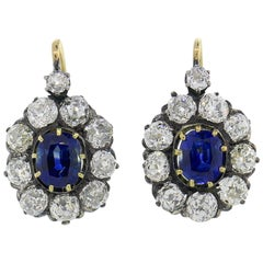 Antique Sapphire Diamond Cluster Earrings Drop Stud in Silver Gold Victorian