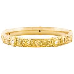 Riker Brothers Art Nouveau Diamond set Gold Bangle