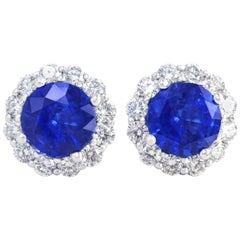 Cornflower Blue Sapphire and Diamond set Gold Earrings