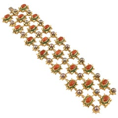 Exquisite Tony Duquette Chrysoprase Coral and Black Pearl Gold Bracelet