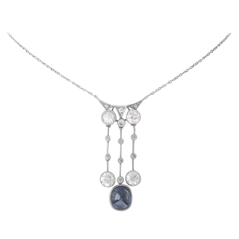 Art Deco Natural Sapphire Diamond Platinum Drop Pendant Necklace