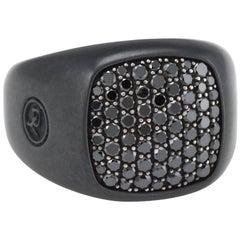 David Yurman Men's Pave Black Diamond Signet Ring Estate Fine Jewelry