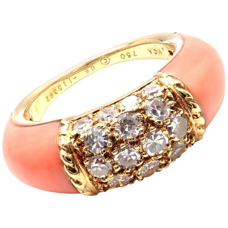 Van Cleef & Arpels Coral Diamond Yellow Gold Band Ring