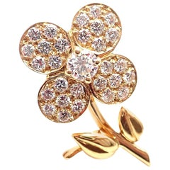 Van Cleef & Arpels Diamond Flower Yellow Gold Pin Brooch