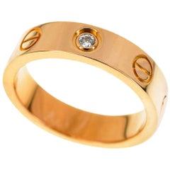 Cartier Diamond 18 Karat Pink Gold Mini Love Ring US 3