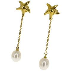 Tiffany & Co. Starfish Motif Pearl Pierced Earrings 18 Karat Yellow Gold