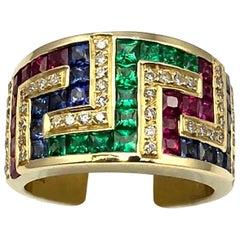 Georgios Collections 18 Karat Yellow Gold Greek Key Ruby Sapphire Emerald Ring