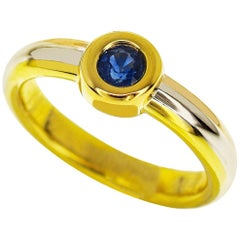 Cartier Monostone Blue Sapphire 18 Karat Yellow and White and Pink Gold Ring