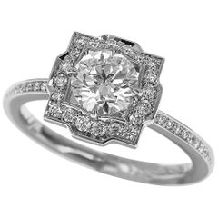 Harry Winston Belle Diamond 0.53 Carat Micropavé Ring 950 Platinum