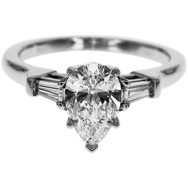 Harry Winston Pear Classic Ring Diamond 1.03 Carat D-VS2 950 Platinum US6