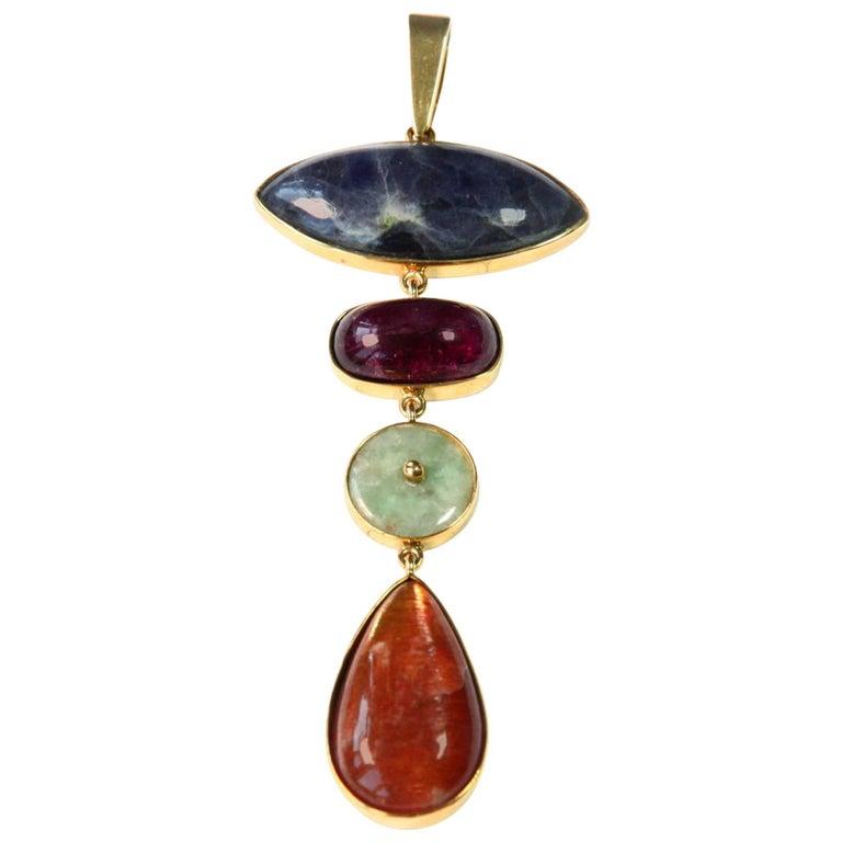 Tanzanite Tourmaline Jade Opal Gold Pendant