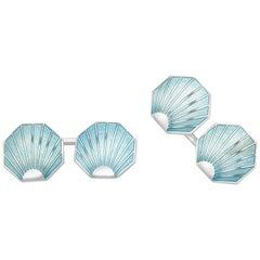 Deakin & Francis Sterling Silver Turquoise Shell Vitreous Enamel Cufflinks