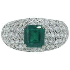 Modern 1.22 Carat Emerald, 1.30 Carat Diamond Cluster Dress Ring, Platinum