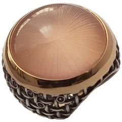 "Rose Quartz Cabochon Pink Sapphire Gold Silver Ring ""Sphere"" Wagner Collection"