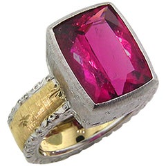 5.95 Carat Rubellite Tourmaline Gold Florentine Engraved Ring