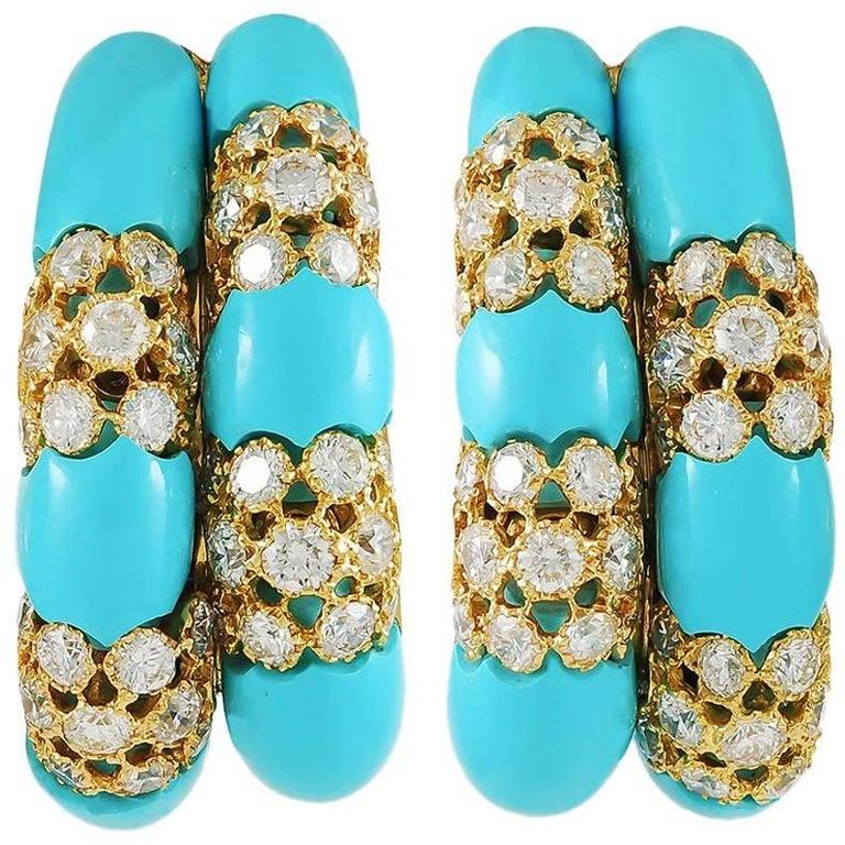 Diamond Turquoise 18 Karat Gold Hoop Ear Clips