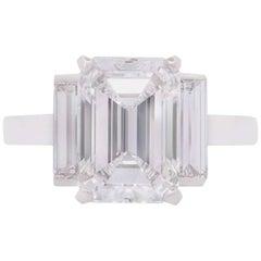 Cartier Emerald Cut Diamond Platinum Ring 3.36 Carat F/VS1