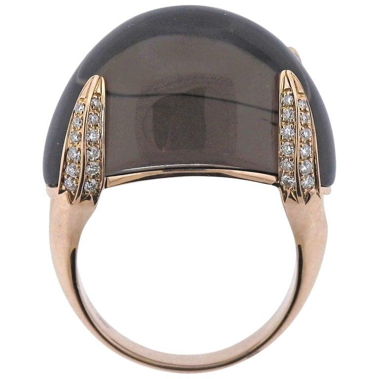 Chimento Diamond Smokey Quartz Rose Gold Ring