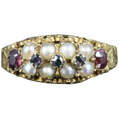 Antique Victorian Garnet Pearl Ring Dated 1881