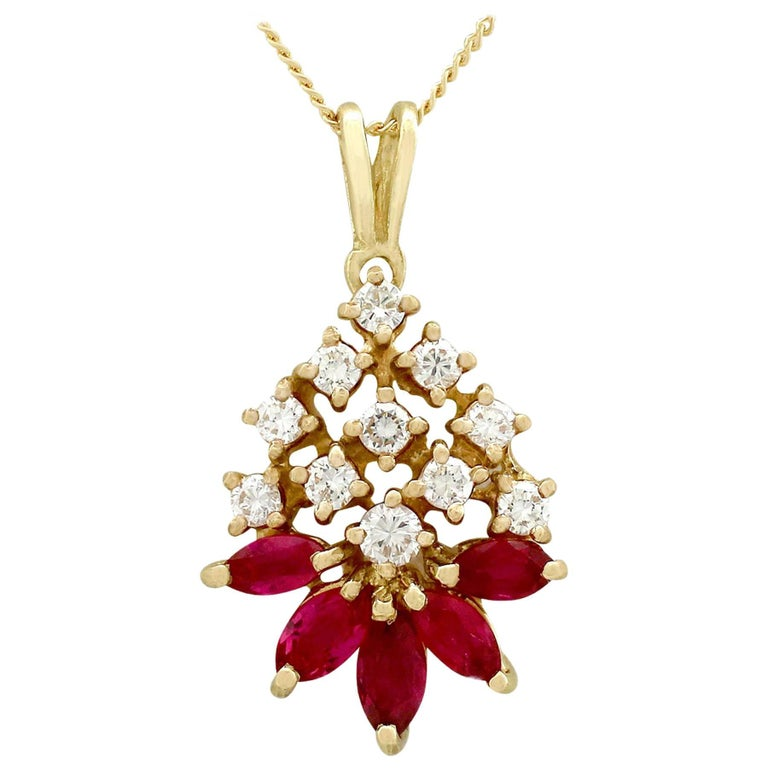 Vintage Ruby and Diamond Yellow Gold Pendant