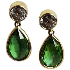 Tourmaline Sapphire Gold Earrings Wagner Collection