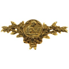 Art Nouveau French 18 Karat Yellow Gold Brooch, Lenoir