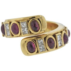 Verney Paris Ruby Diamond Gold Bypass Ring