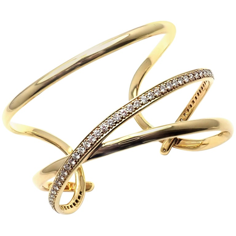 Tiffany & Co. Angela Cummings Diamond Yellow Gold Bangle Bracelet, 1980