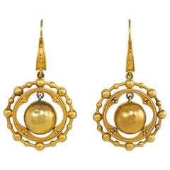 Victorian Gold Earrings with Articulated Bead Pendants