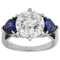 Old European Cut Diamond and Blue Sapphire Three-Stone Engagement Ring