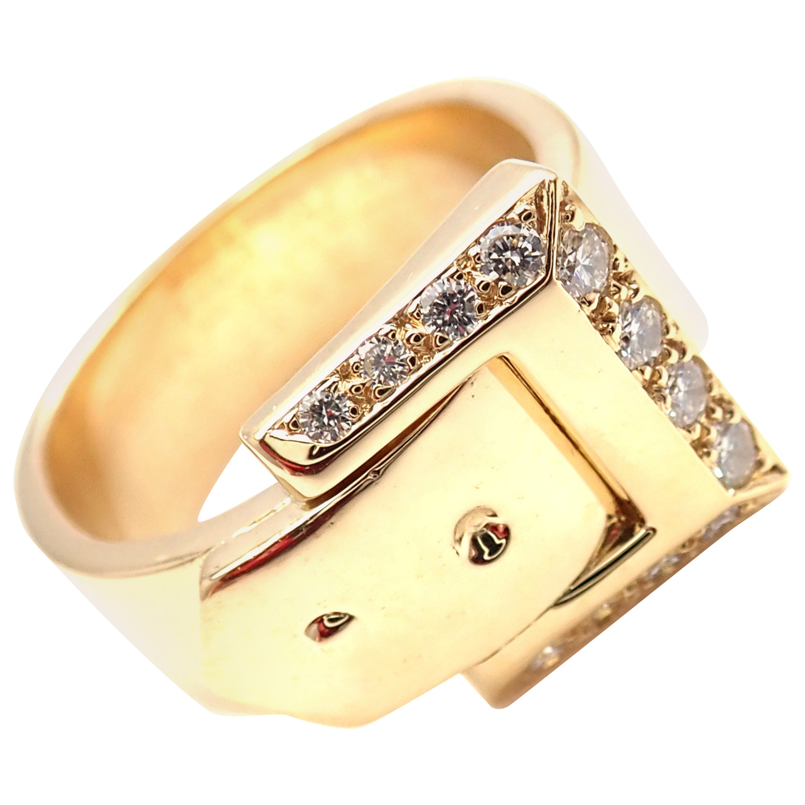 Hermes Diamond Buckle Yellow Gold Band Ring