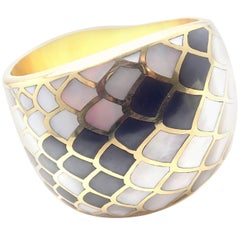 Angela Cummings Mother-of-Pearl Snakeskin Yellow Gold Wide Bangle Bracelet 1984