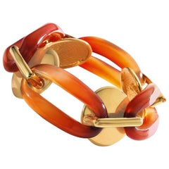 Aldo Cipullo 18 Karat Yellow Gold and Carnelian Bracelet