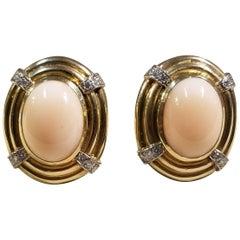 14 Karat Y/G Coral and Diamond Earrings
