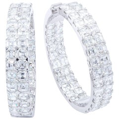 David Rosenberg 20.49 Carat Asscher Cut D/VVS1 Inside Out Diamond Hoop Earrings