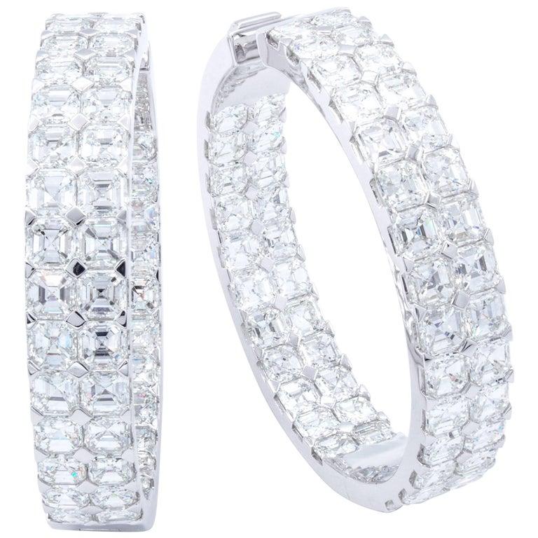 David Rosenberg 20.49 Carat Asscher Cut D/VVS1 Inside Out Diamond Hoop Earrings