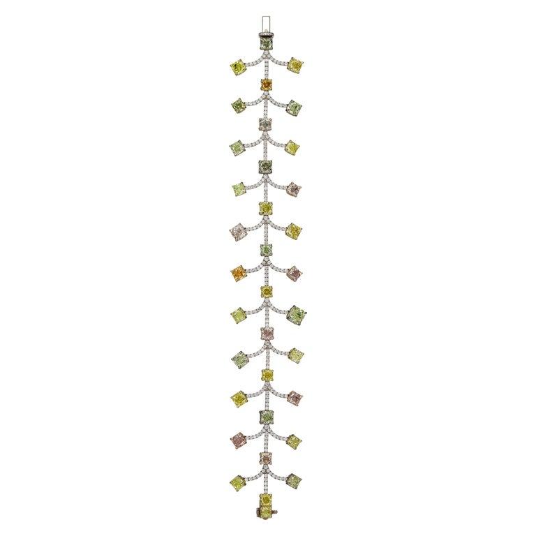 Scarselli Fancy Color Diamond Bracelet in Platinum 17.33 Carat