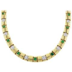 Roberto Coin Green Garnet and Diamond Necklace