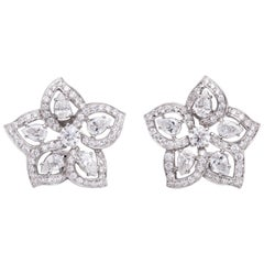 White Gold and Diamond Floral Earrings