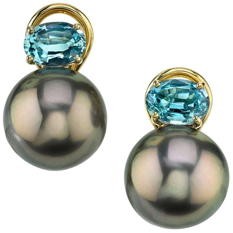 Tahitian Pearls and Oval Aquamarine Earrings 18 Karat Yellow Gold French Clip