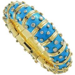 Tiffany & Co. Light Blue Schlumberger Bangle with Diamonds