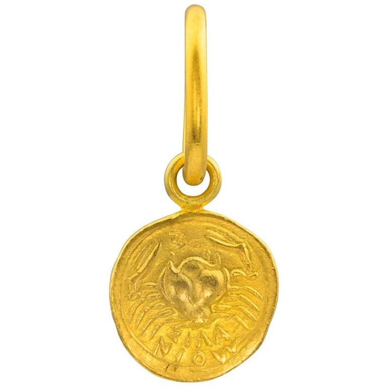 Loren Nicole 24K Gold Hand Struck Ancient Greek Coin Charm Pendant Replica