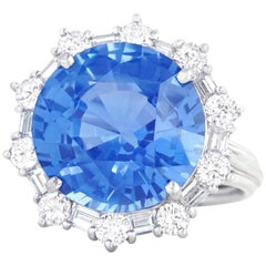 10.0 Carat No Heat Burma Sapphire and Diamond Set Platinum Ring
