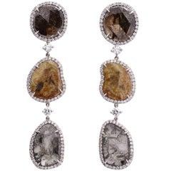 White Gold Diamond Slice Pendant Earrings