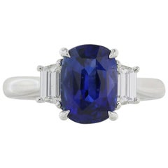 Ceylon Royal Blue 3.11 Carat Sapphire and Diamond Three-Stone Ring