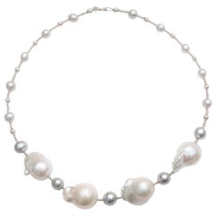 Grey and White Pearl Necklace with Round and Baroque Pearls