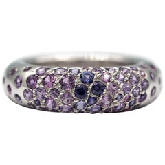 Chaumet Blue and Purple 18 Karat White Gold Ring with 2 Carat Sapphires