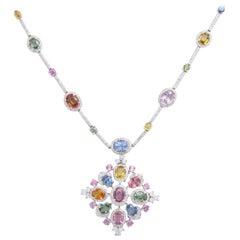 White Gold, Multi-Color Sapphire, and Diamond Necklace